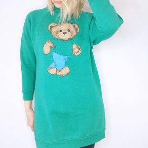 Vintage tunic length Teddy Bear jeans sweatshirt